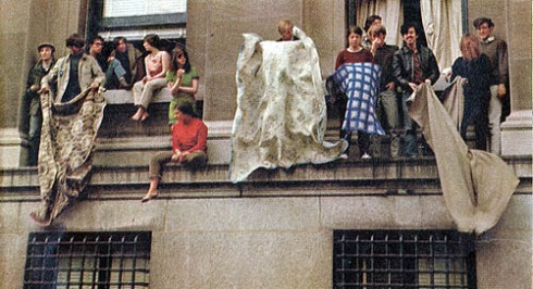 Columbia students had occupied the school buildings, April 1968. Courtesy Life magazine