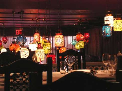 The colorful lamps at Devi in New York