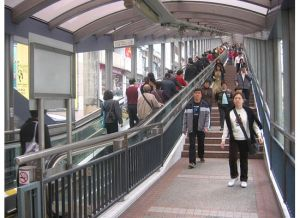 People riding the escalors at Mid-Levels, Hong Kong