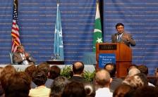 Pervez Musharraf at Columbia University's World Leaders Forum. Courtesy Columbia University