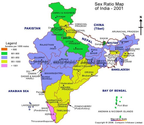 Sex Ratio map of India in 2001