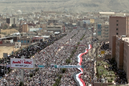 Miles of protesters in Sanaa, Yemen