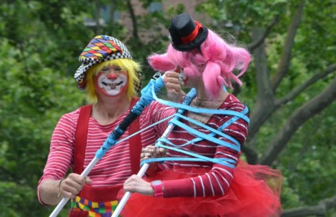 The colorful clown duo