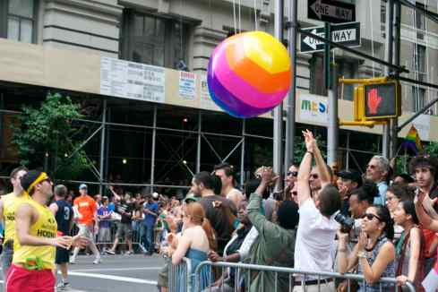 Tossing the rainbow ball with spectators