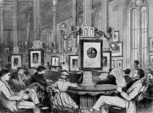 Reading-Room of the Boston Public Library, an engraving drawn by J. J. Harley and printed January 1871 in Every Saturday, a weekly newspaper published in Boston by James Osgood & Company.