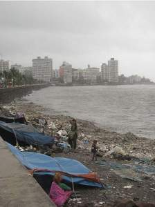 Trash litters the coast of Mumbai